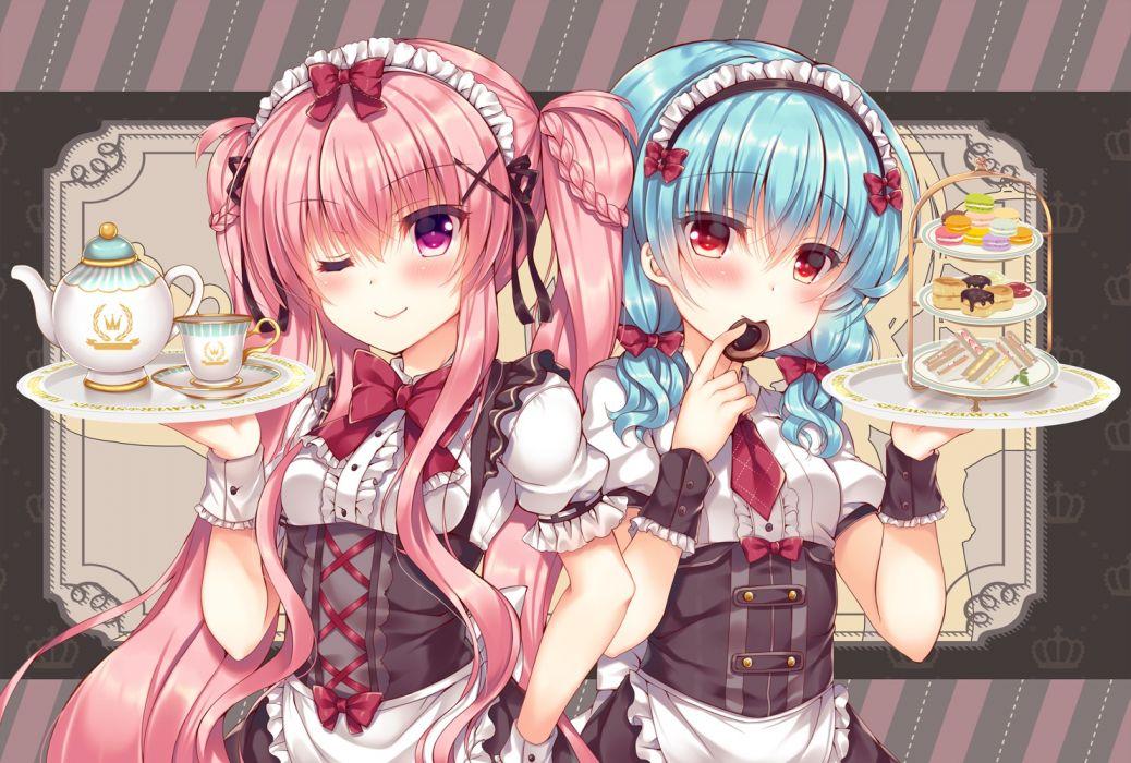 Konachan com - 263506 2girls apron aqua hair blush bow braids cake drink food headdress long hair original pink hair red eyes tie twintails waitress wink wristwear wallpaper