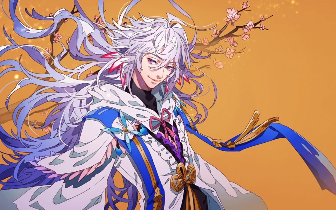 Konachan Com 262605 All Male Cape Cherry Blossoms Fate Grand Order Fate Series Gray Hair Hoodie Long Hair Male Merlin Fate Grand Order Orange Purple Eyes Tenobe Wallpaper 1802x1128 1260182 Wallpaperup