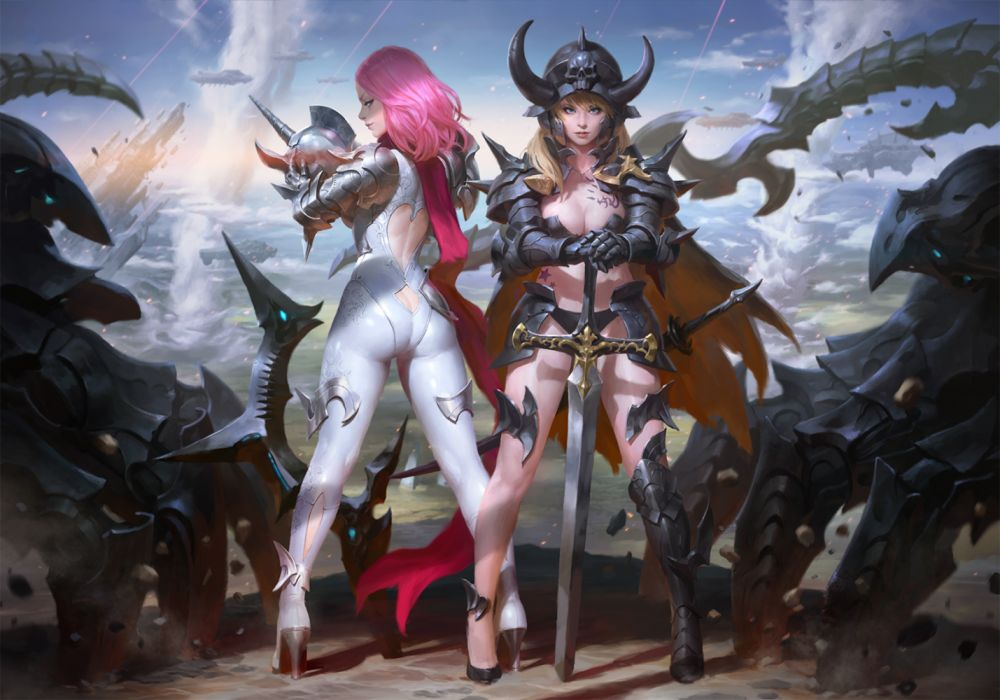 Konachan com - 262701 2girls aircraft armor ass blue eyes bodysuit breasts cape cleavage clouds kilart long hair original pink hair scarf skintight sky sword tattoo weapon wallpaper