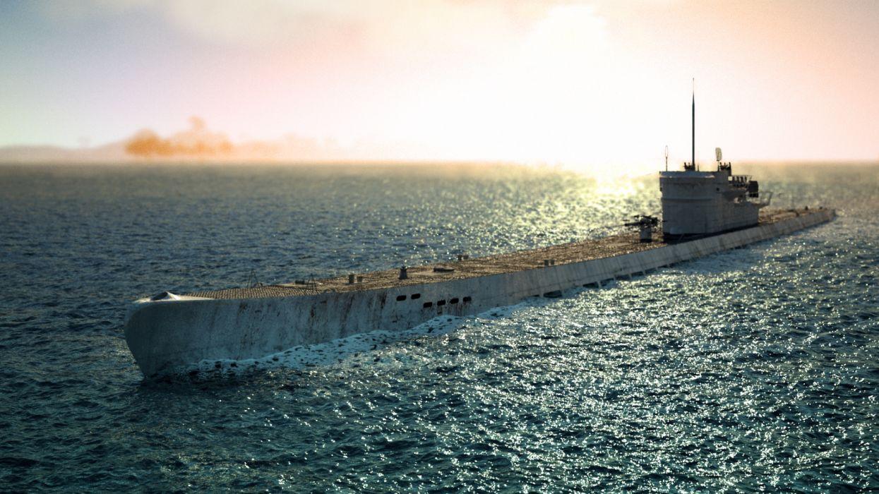 submarino emergiendo oceano wallpaper