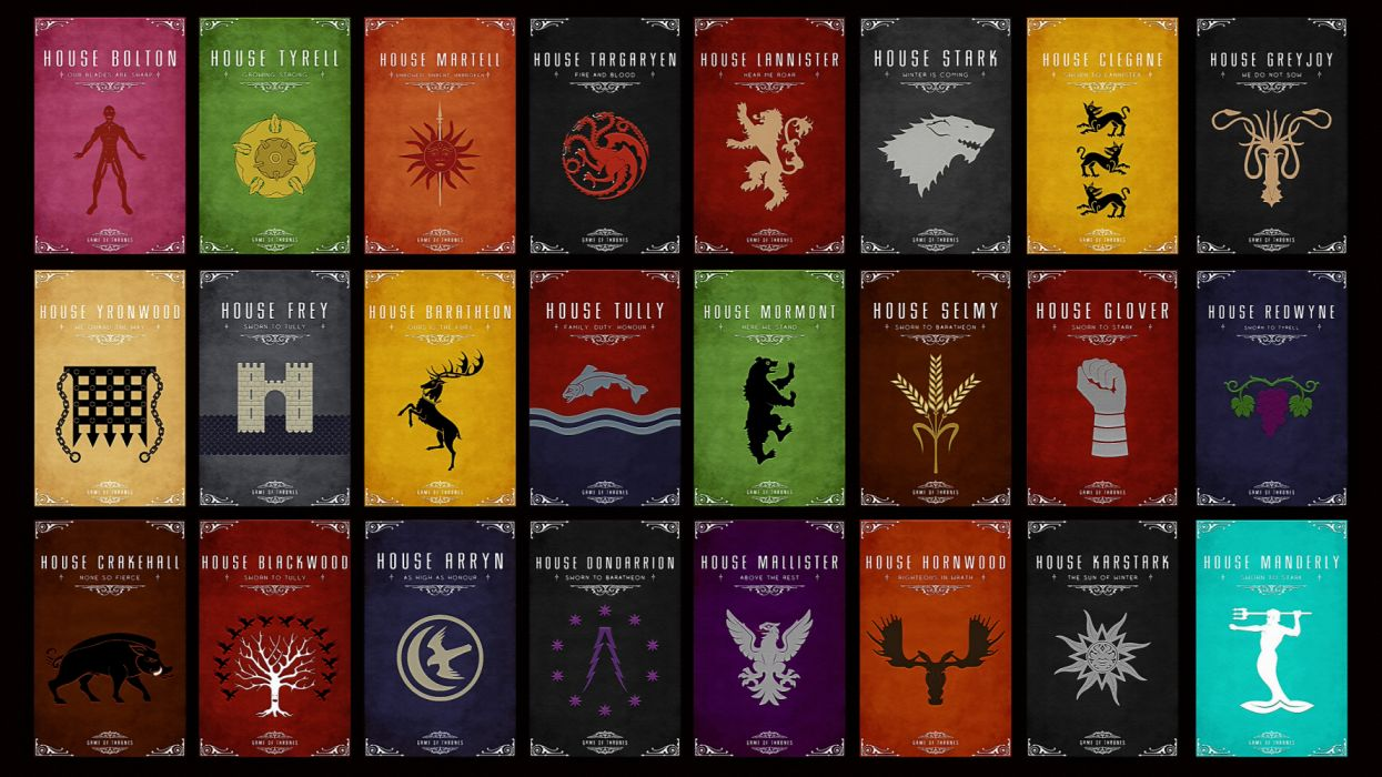 Game Of Thrones House Sigils And Mottos Wallpaper