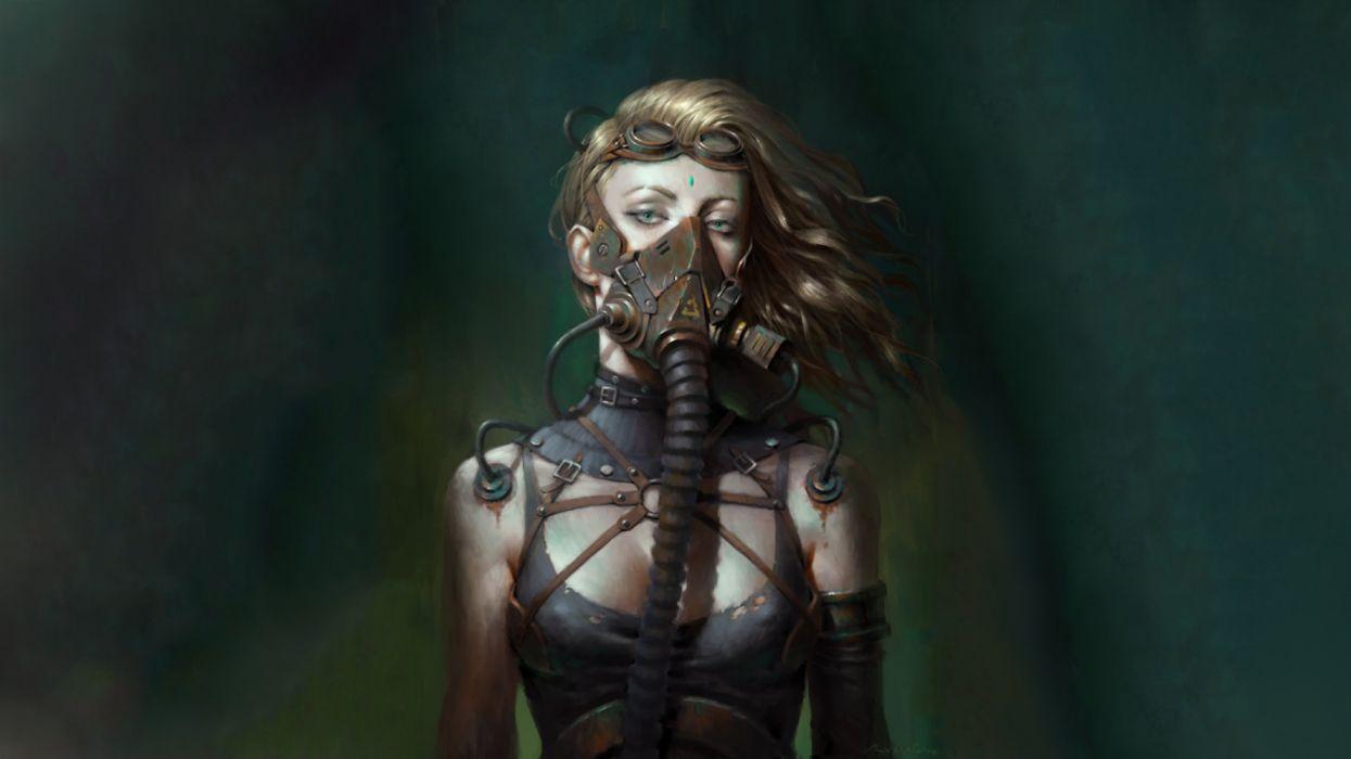 Artist Girl Wearing Mask Cyberpunk woman fantasy beauty wallpaper