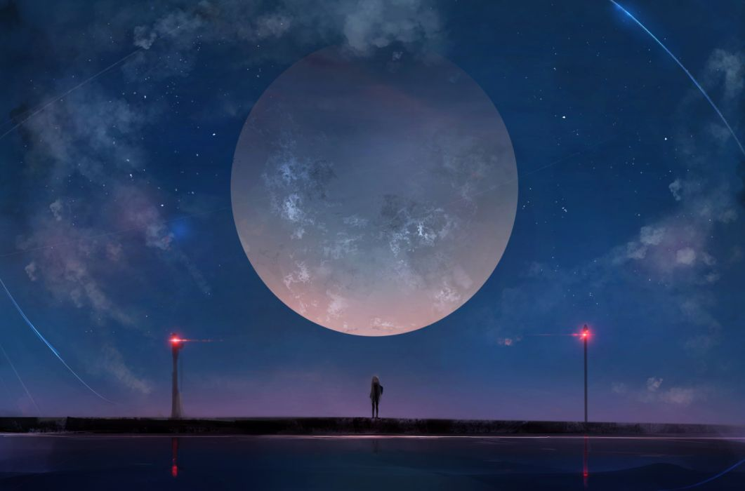 Huge Moon Anime Girl Night Sky Stars wallpaper