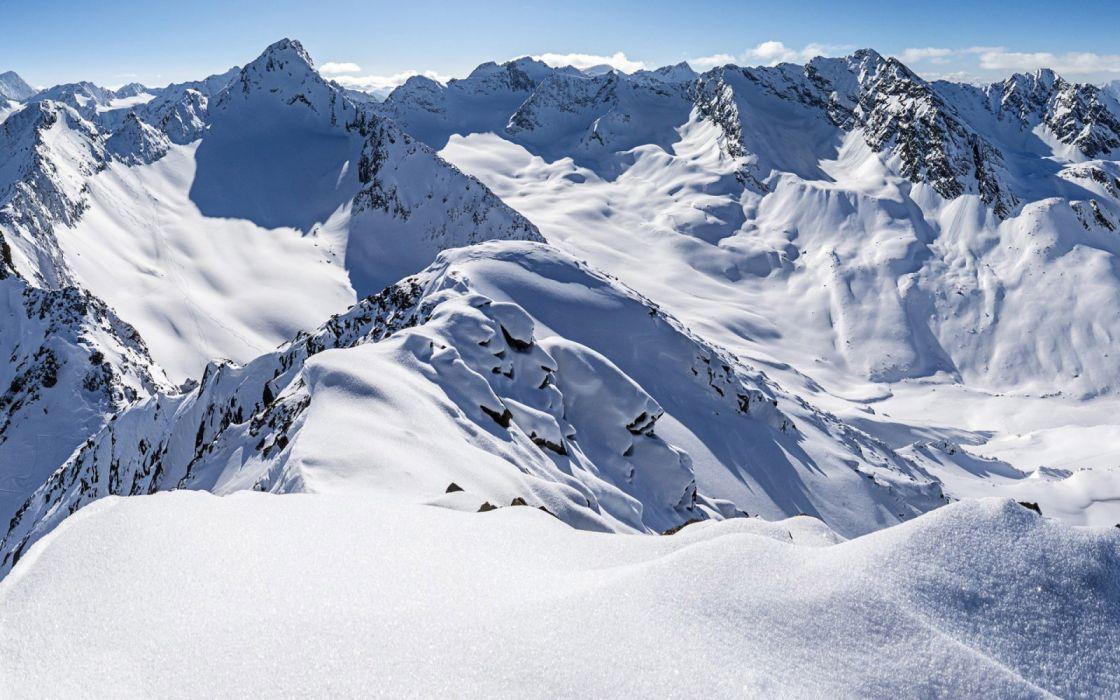 Zischgeles Stubai Alps Tyrol Austria thick snow mountains winter wallpaper