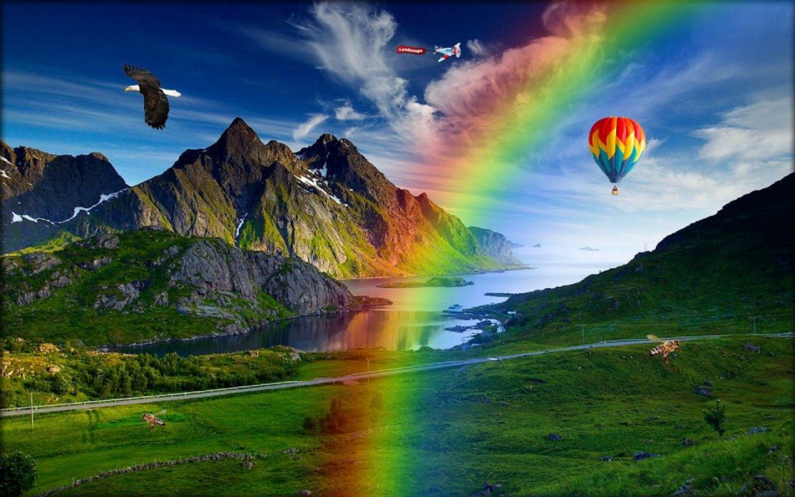 arco iris naturaleza globos aerostaticos montay wallpaper