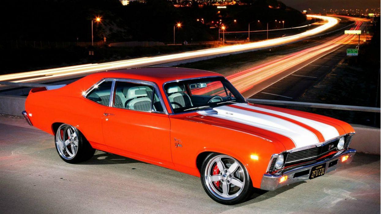 clasico coche norteamericano naranja rayas blancas wallpaper