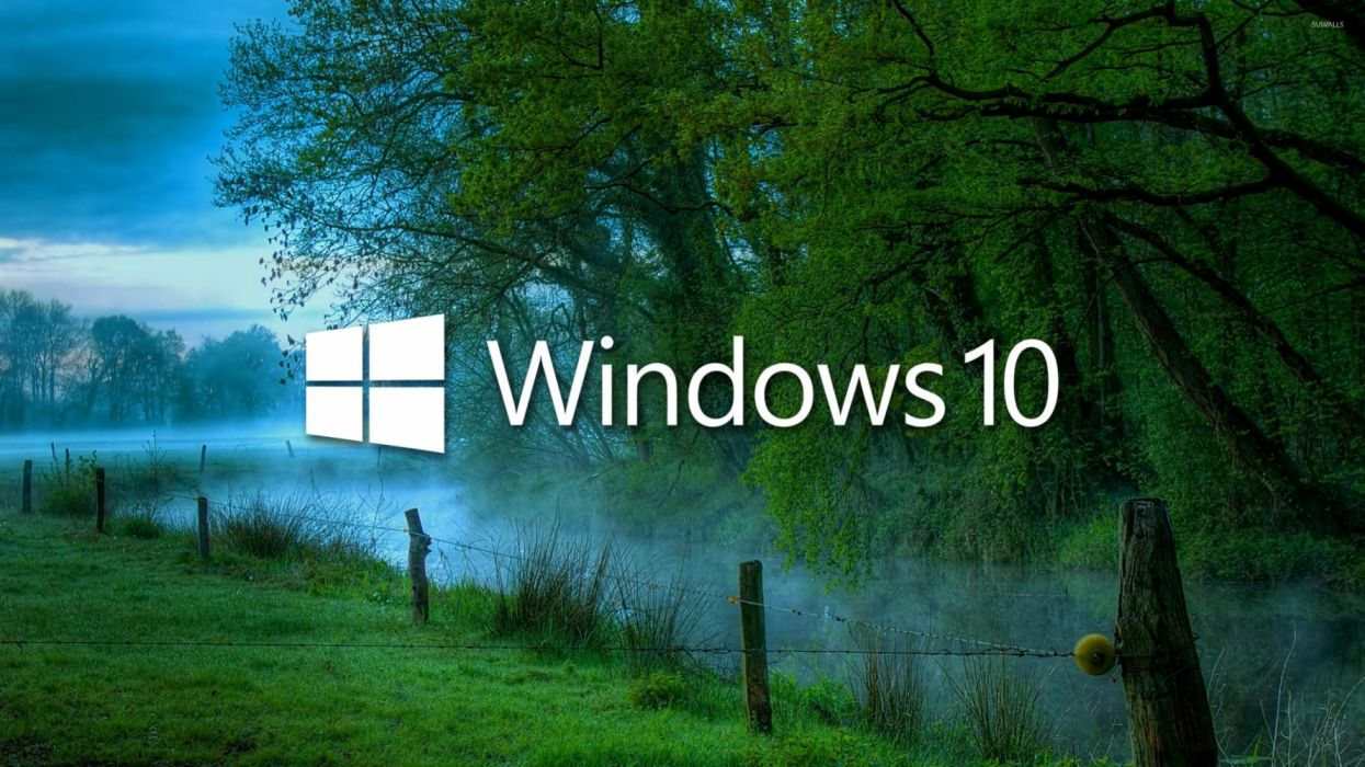 Windows 10 In The Misty Morning Texts Abastrac Wallpaper