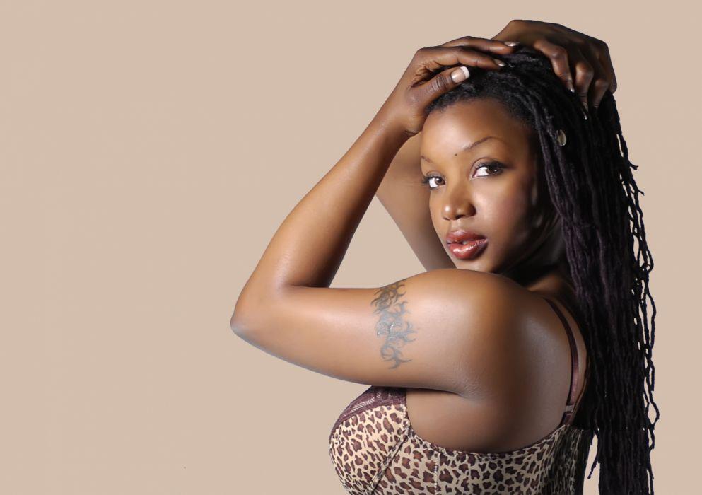 ebony female brunette tatoo wallpaper