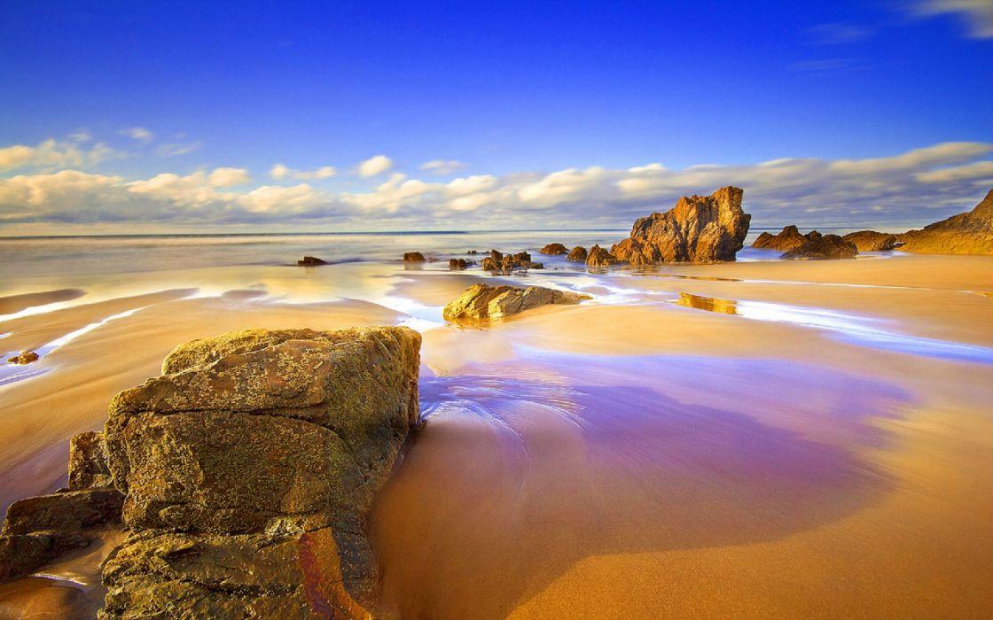 playa roca mar nube naturaleza wallpaper