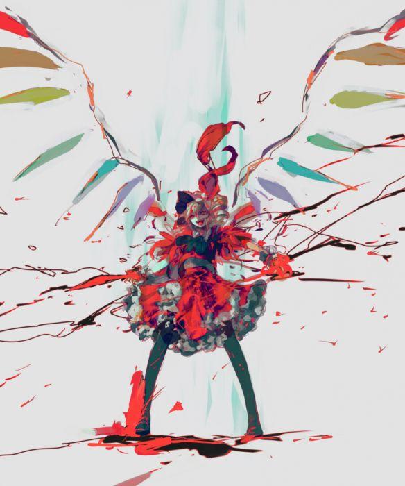 Touhou Flandre Scarlet Multicolor Wings Fanart wallpaper
