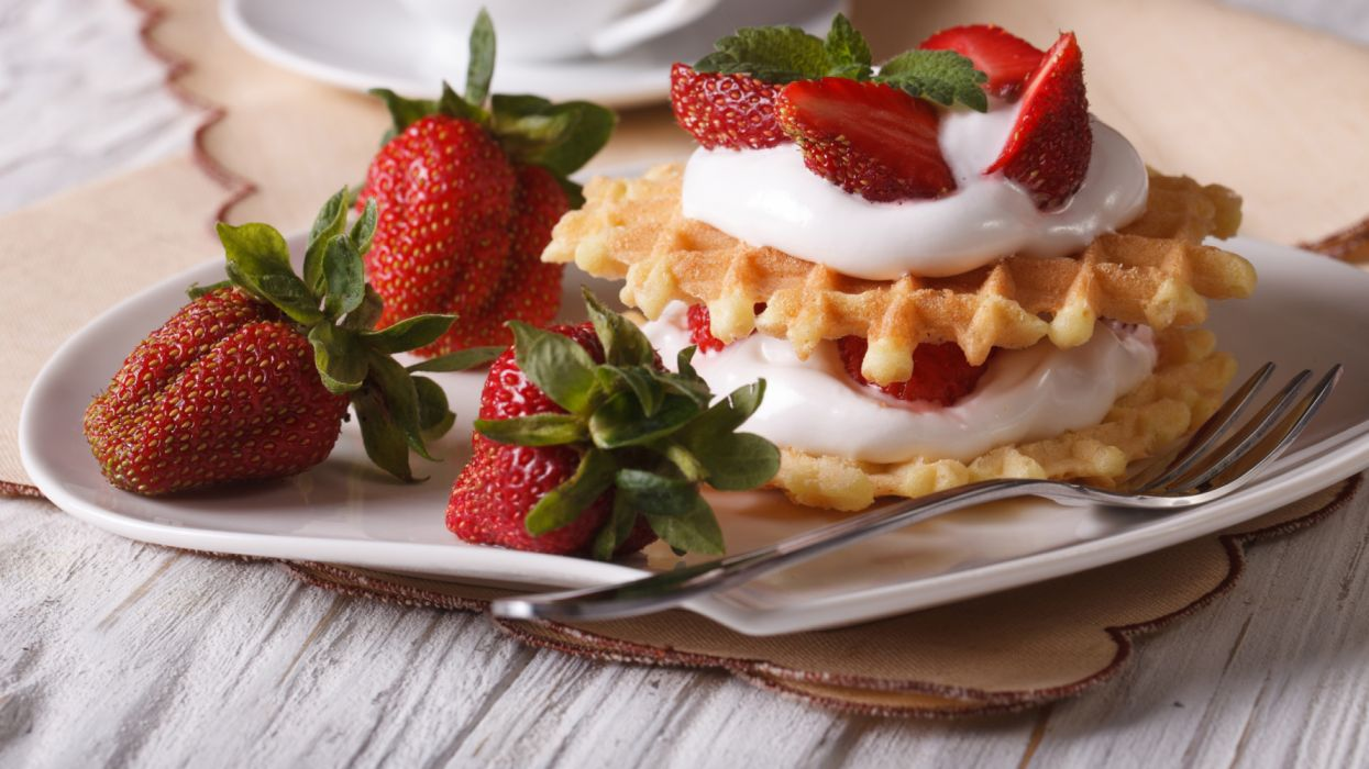 Dessert strawberries fruit cream fork food wallpaper