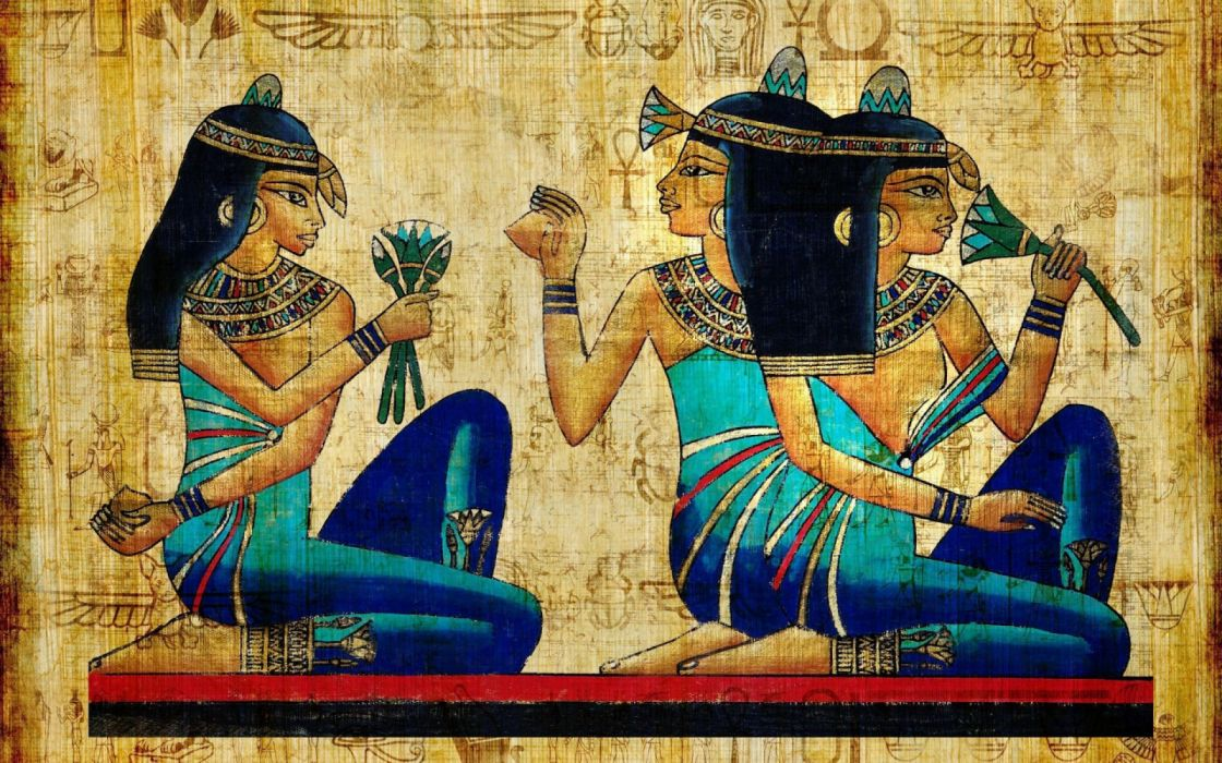 Egyptian Hieroglyphics Papyrus Painting Art wallpaper
