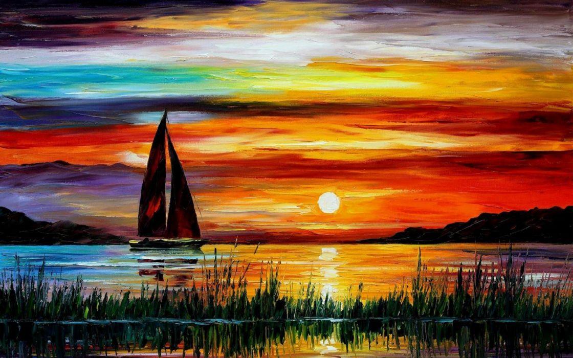 Painting Sunset Sea Boat wallpaper