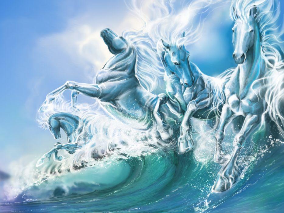 water horses sky drawings fantasy widescreen wallpaper