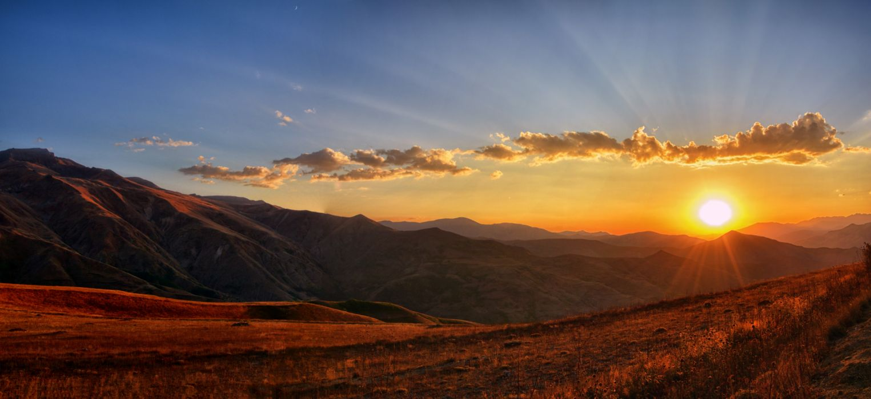panoramic sunset landscape wallpaper