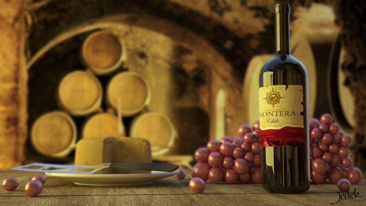 botella vino uva barriles vidrio wallpaper