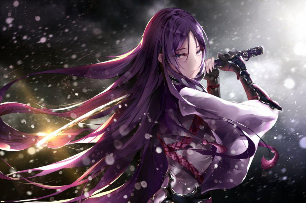 Konachan com - 269229 fallen heaven fate grand order fate (series) japanese clothes minamoto no yorimitsu (fate) purple eyes purple hair sword weapon wallpaper