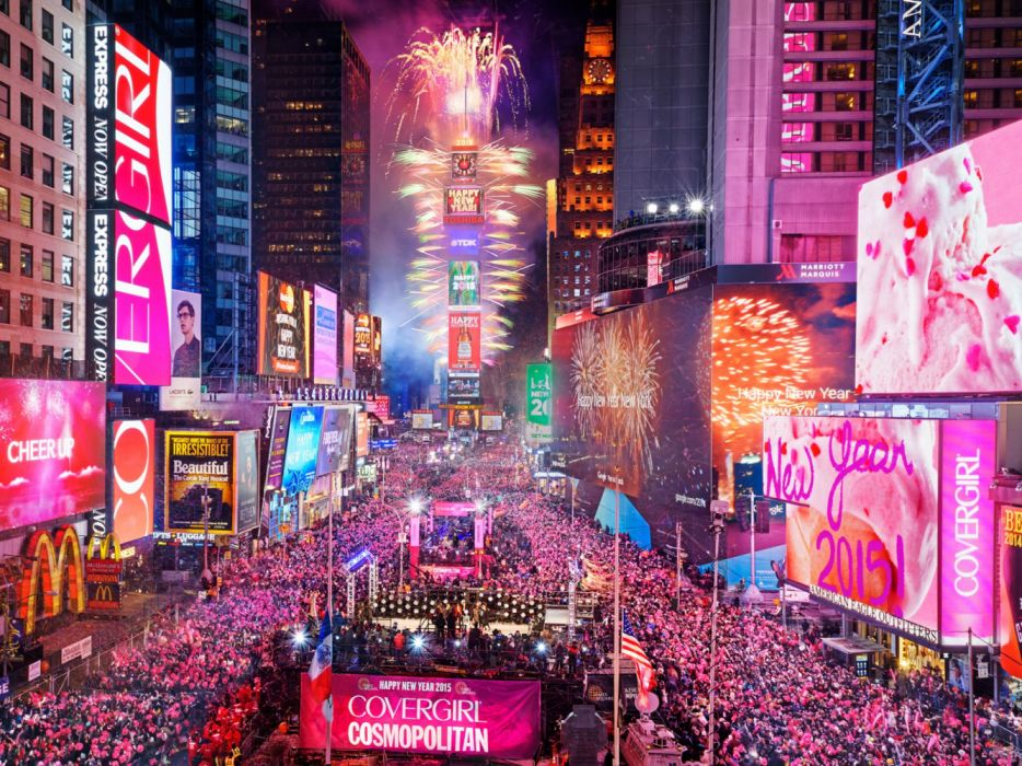 times square in new york city usa night happy new year people wallpaper