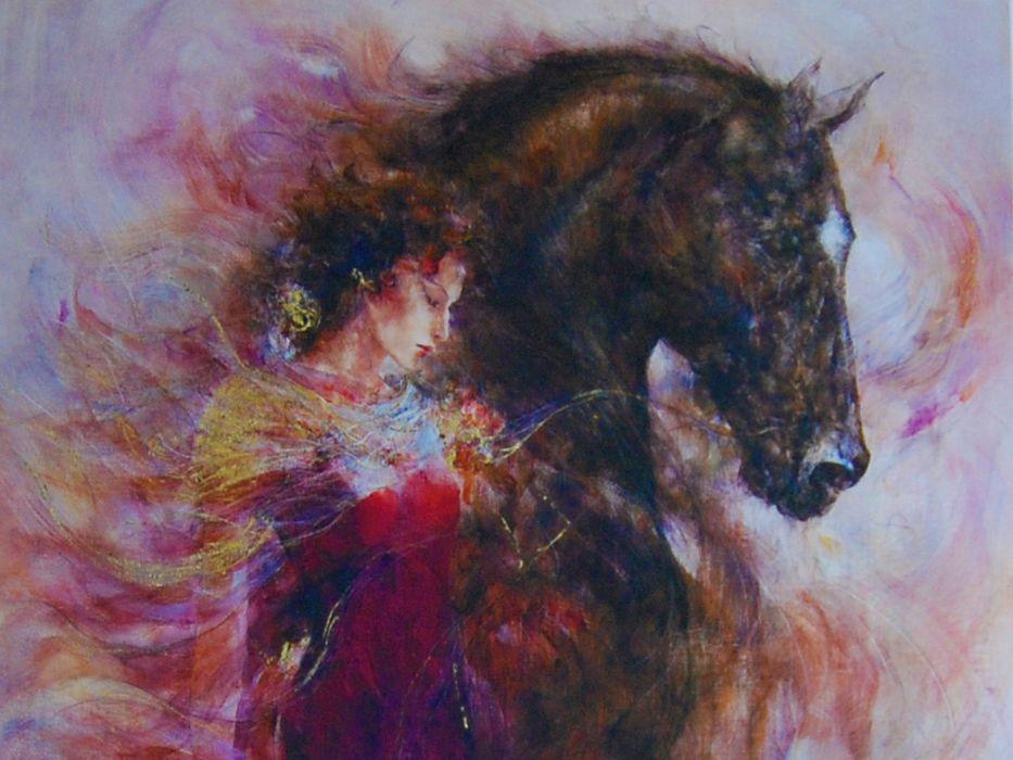 Artistic Women Horse Art Beauty Wallpaper 1440x1080 1289187