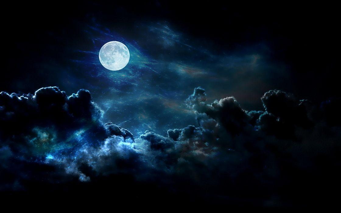 luna cielo negro noche nubes dark wallpaper