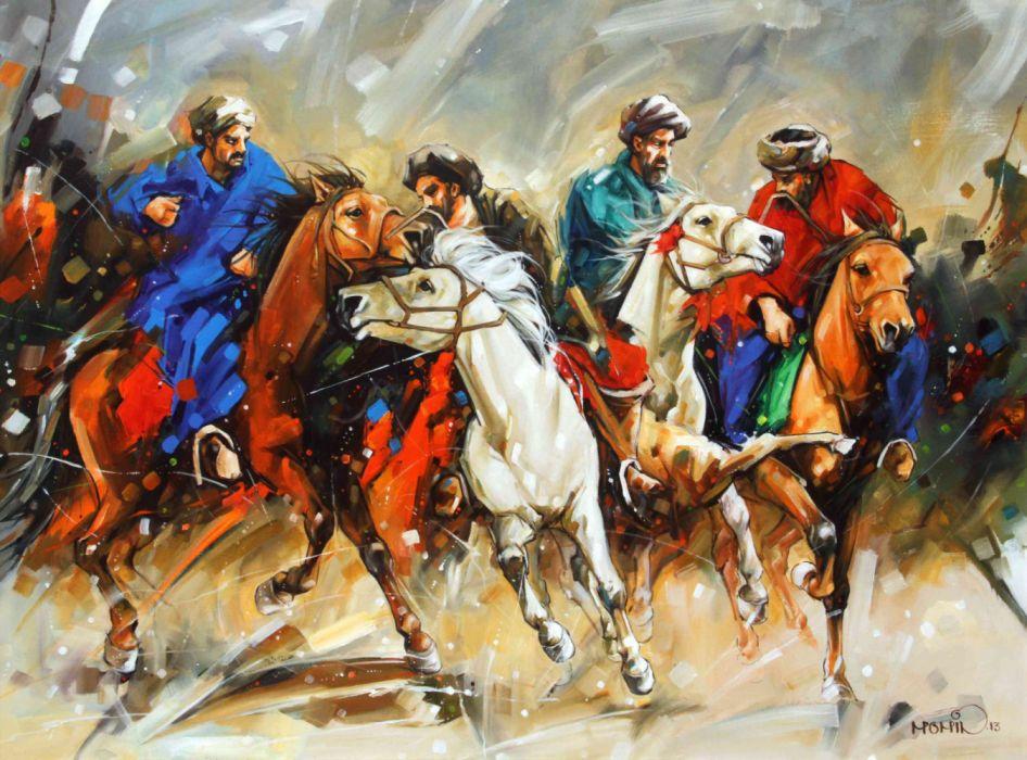 arte pintura abstracto cosacos caballeria wallpaper