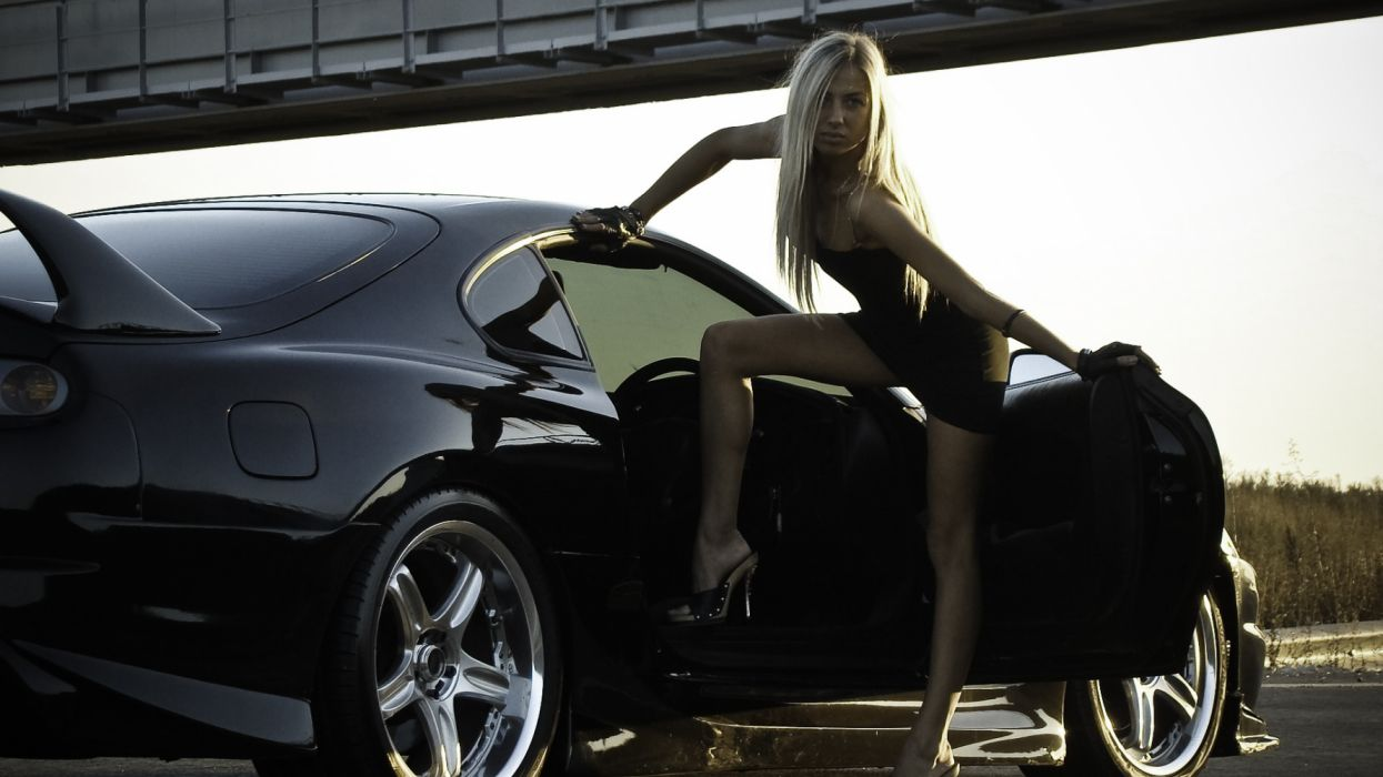 toyota vehicles cars tuning black wheels women females girls babes sexy sensual blondes legs pose 1920x1080 wallpaper