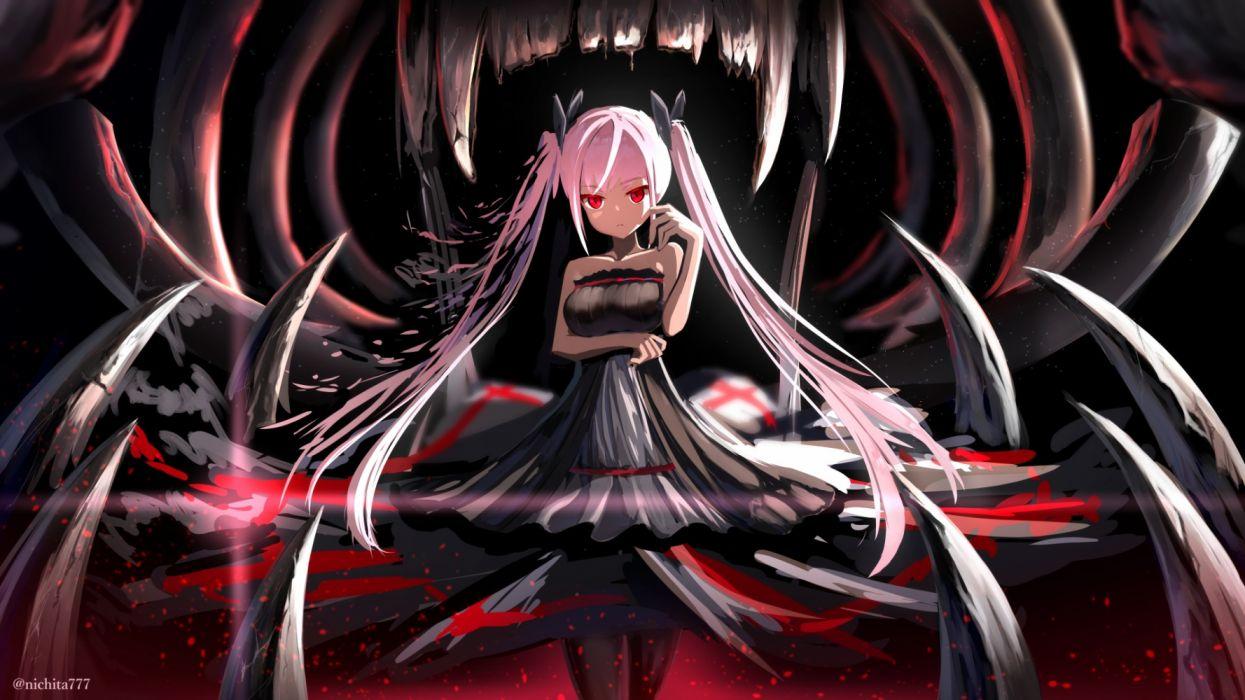 Konachan com - 271262 black breast hold dress gothic kurotobi rarumu long hair original pantyhose pink hair red eyes twintails watermark wallpaper