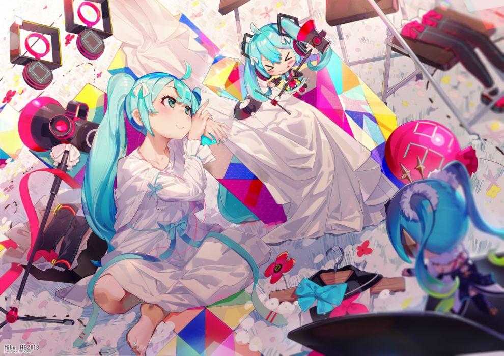 Konachan com - 270232 chibi dress el-zheng hatsune miku headphones magical mirai (vocaloid) vocaloid wallpaper