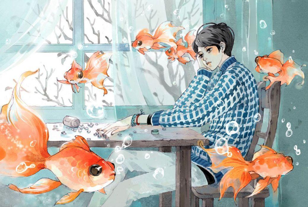 men drawings fish interior underwater surrealism trees objects wallpaper