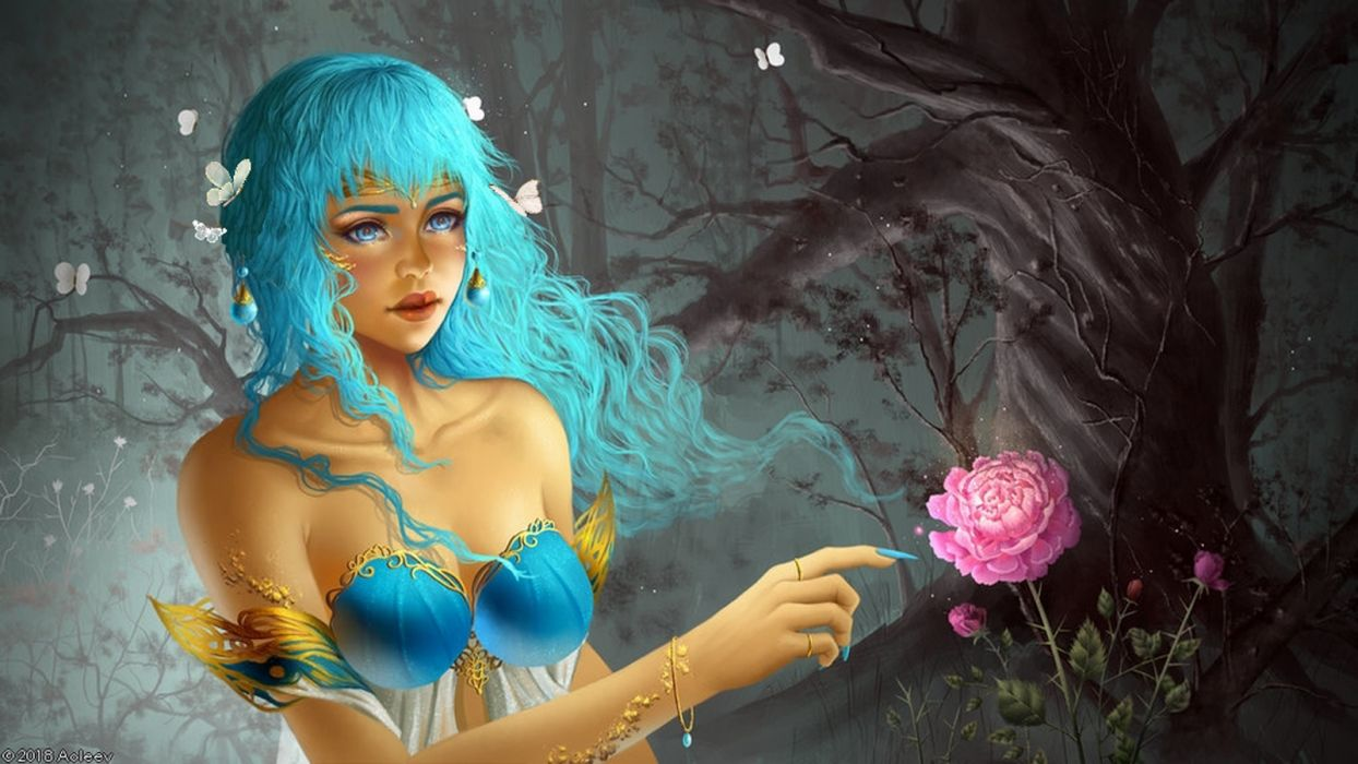 widescreen girls hands butterflies insects drawings flowers fantasy trees nature wallpaper