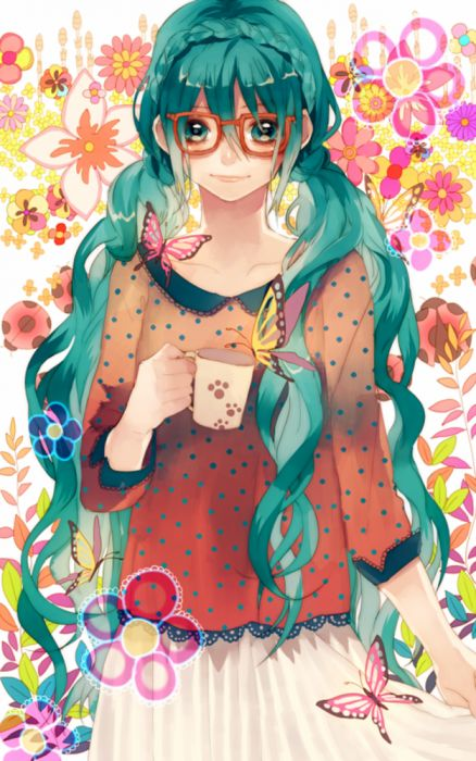 manga objects girls flowers butterflies insects wallpaper