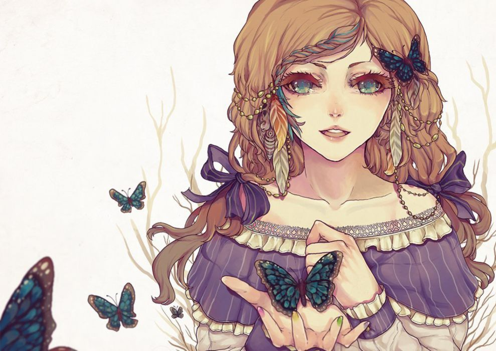 butterflies girls insects drawings wallpaper