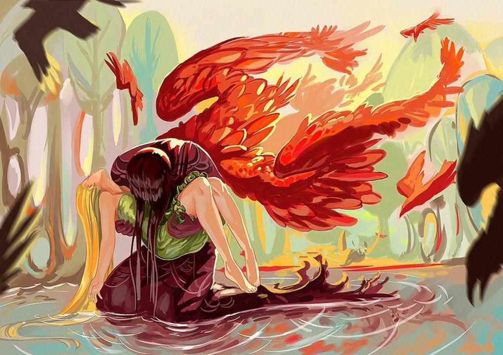 angels water girls men birds trees drawings fantasy sad wallpaper