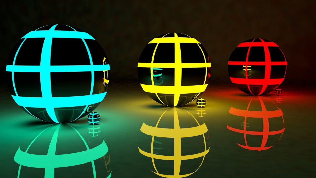 Three 3D balls abstract colors wallpaper