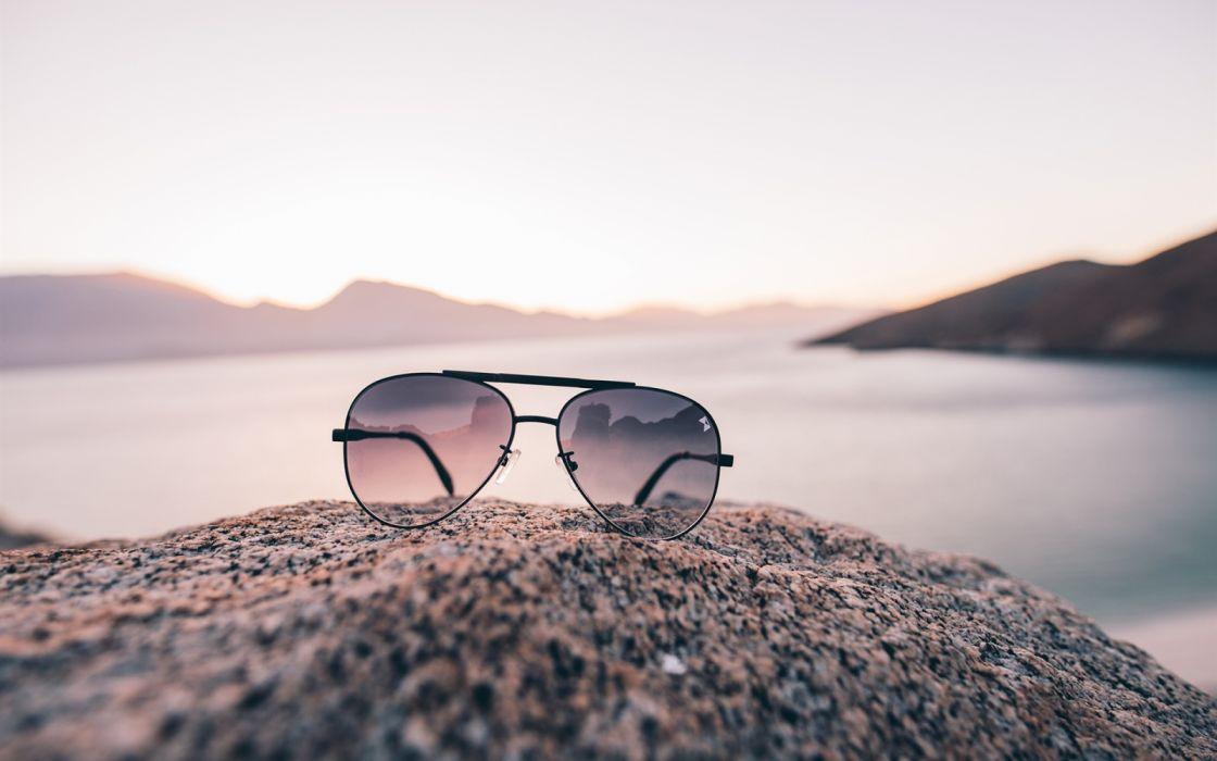 Glasses river sky wallpaper