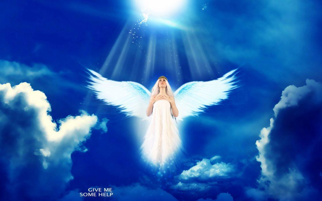 angel cielo fantasia nubes wallpaper