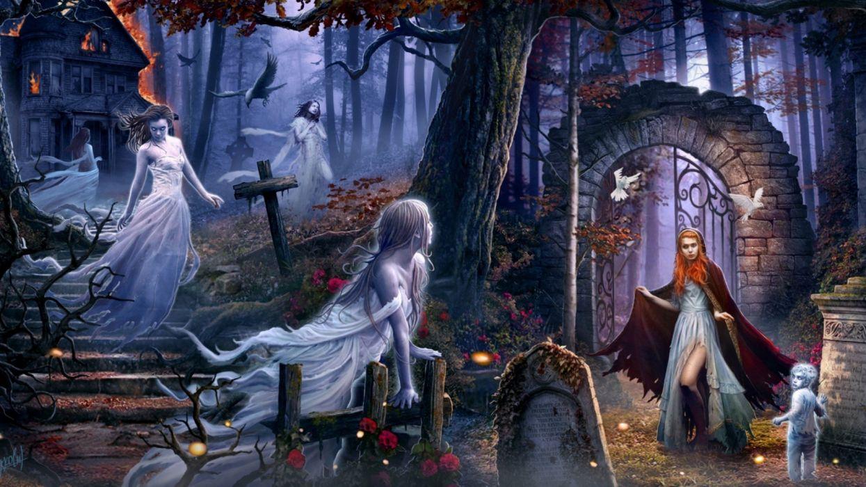 cementerio fantasmas mujer visita fantasia wallpaper
