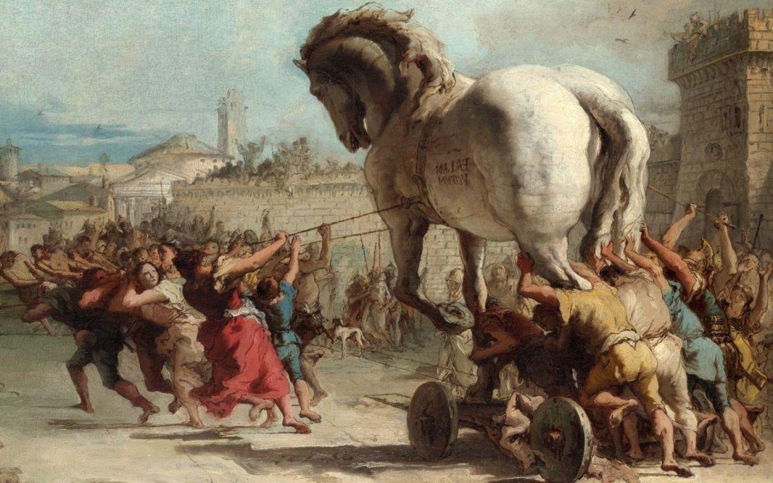 arte pintura troya caballo intruduciendo wallpaper