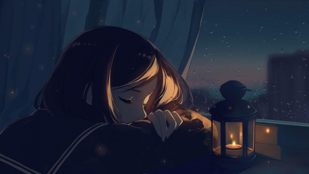 Black Hair Night Rain Seifuku Short Hair Sleep Wallpaper 1920x1080 1303046 Wallpaperup