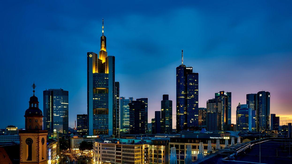 Frankfurt germany panorama city urban skyline cityscape downtown ...