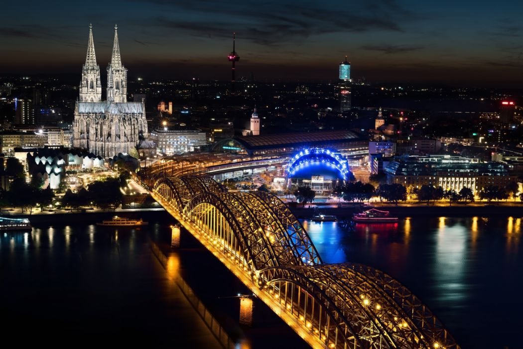 cologne cathedral dom city germany cologne cathedral hohenzollern bridge cologne at night lights illuminated wallpaper