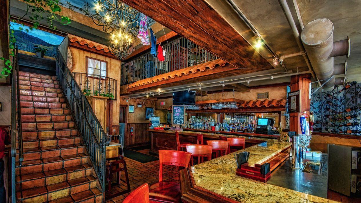 interior staircase bar wallpaper