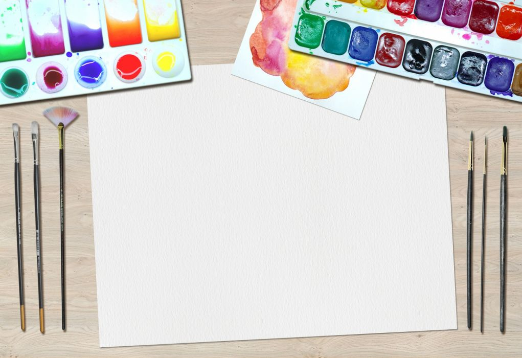 art paint water colors desk artist equipment painting craft drawing paintbrushes paper creative creativity picture colors wallpaper