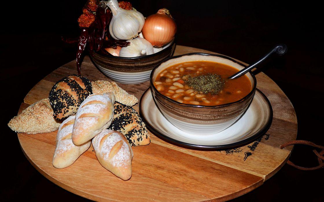 Soups Buns Onion food wallpaper