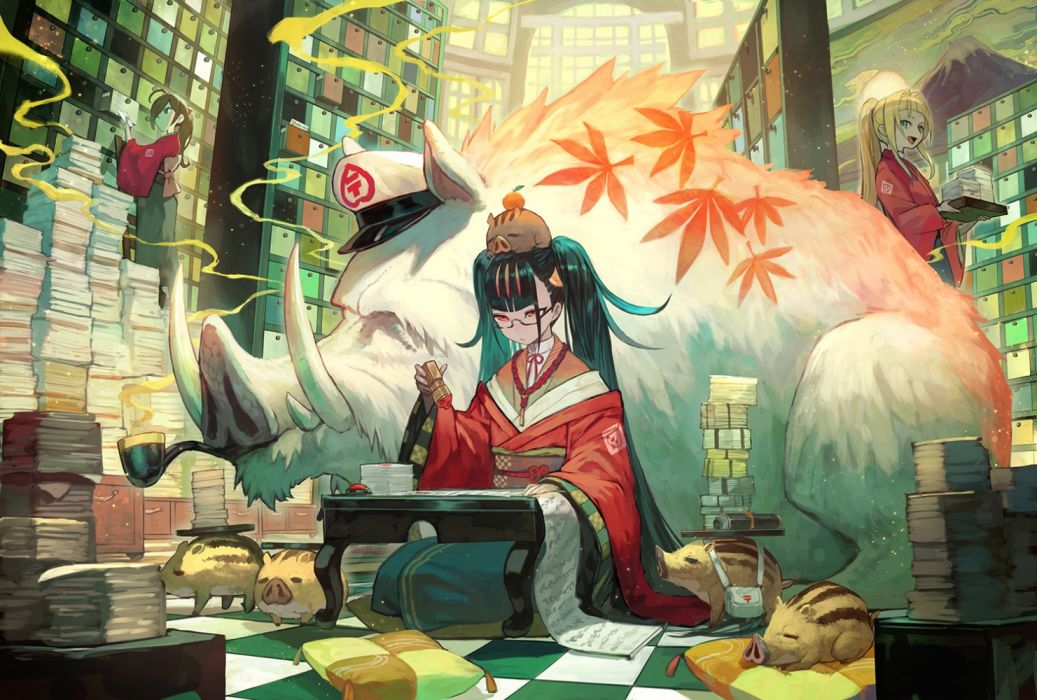 Konachan com - 276473 animal black hair blonde hair blue eyes glasses horns japanese clothes kimono lack long hair original paper ponytail red eyes twintails wallpaper