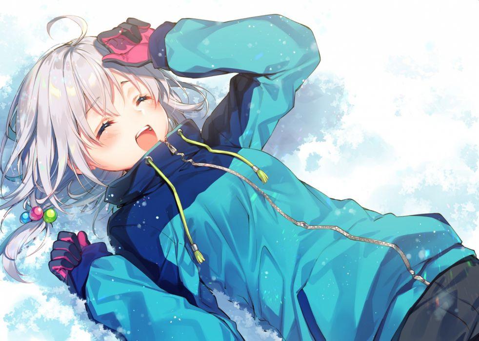 Konachan com - 276572 blush gloves gray hair original short hair snow toosaka asagi wallpaper