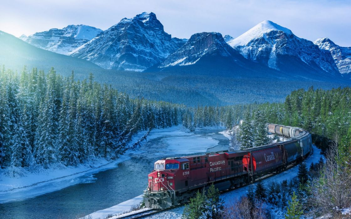 red train red train on rail photography Canada landscape mountains wallpaper