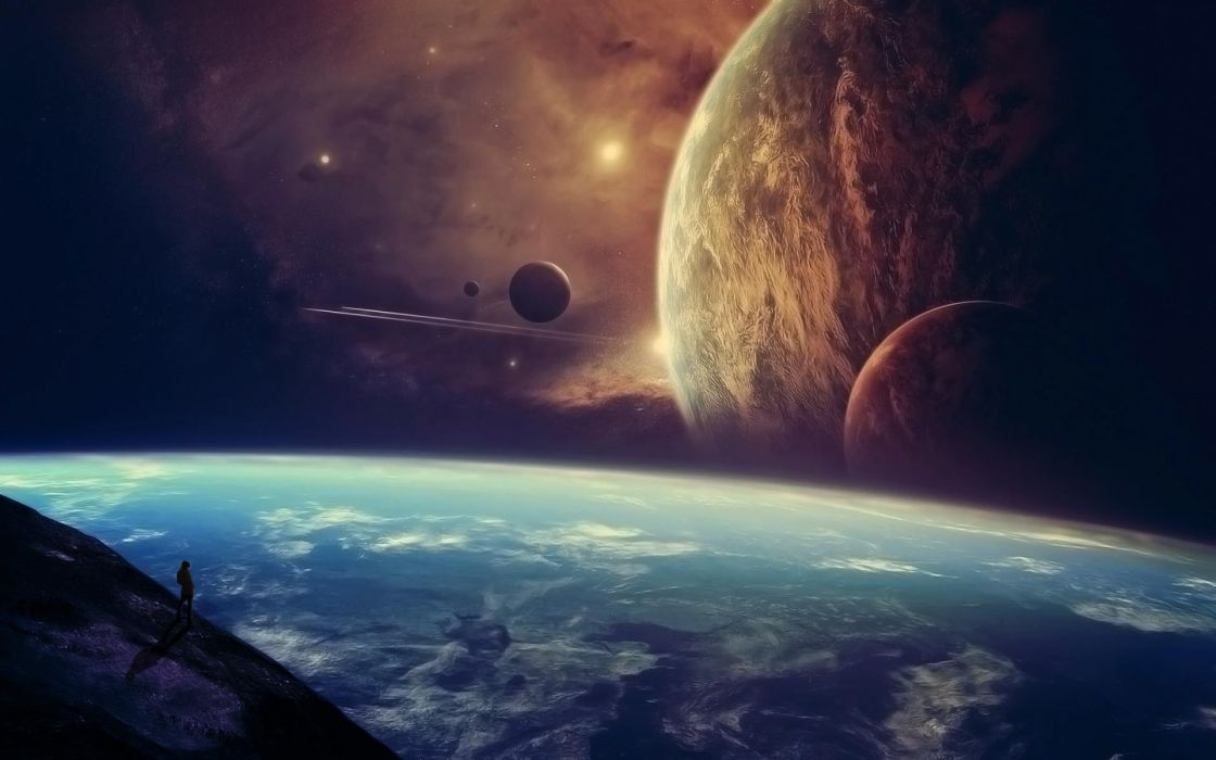 Planets Surface of planets Fantasy Space galaxy illustration wallpaper