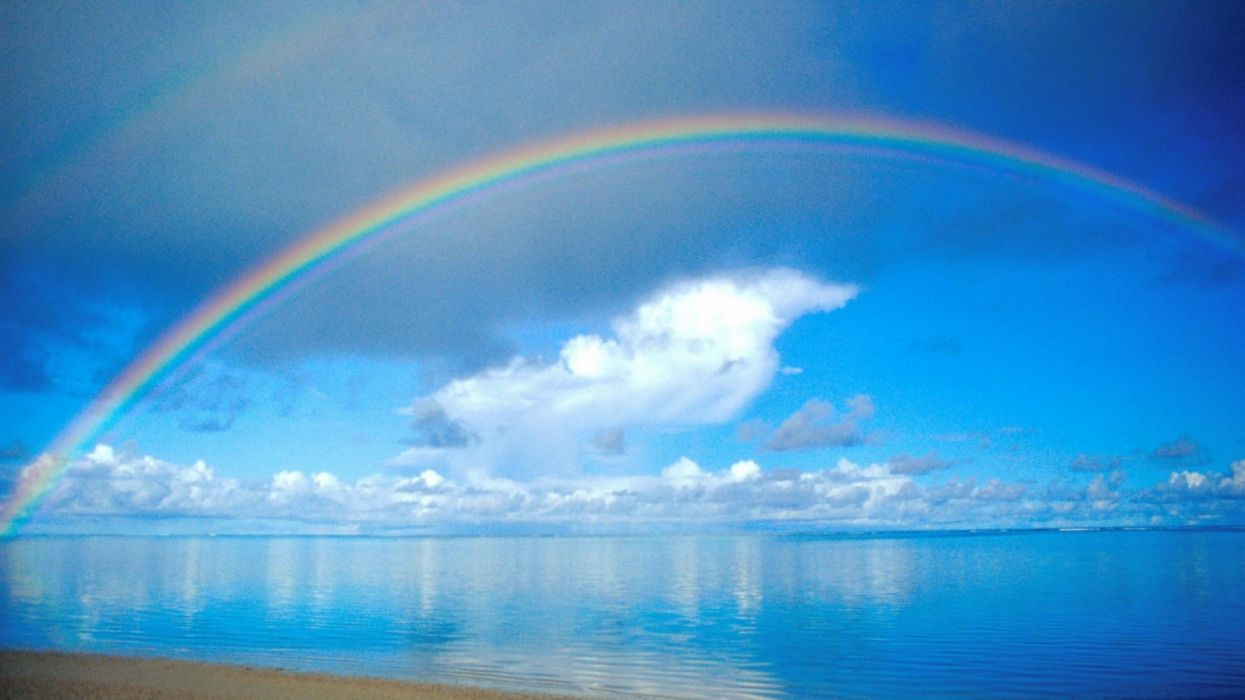 arco iris mar nube naturaleza wallpaper