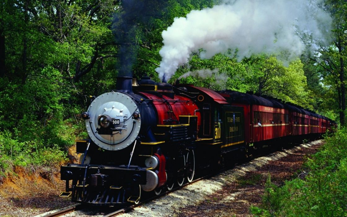 red and black train vintage steam locomotive trees vehicle wallpaper